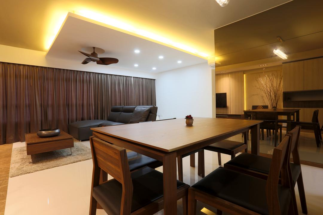 Yishun (Block 315), Voila, Traditional, Dining Room, HDB, Concealed Lighting, Conceal Lights, False Ceiling, Recessed Lights, Dining Table, Dining Chairs, Wooden Table, Wooden Chairs, Mirror, Full Length, Curtains, Carpet, Furniture, Table, Chair, Indoors, Interior Design, Room