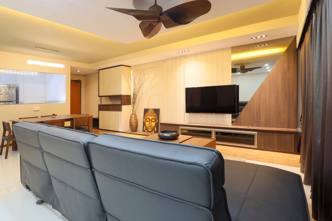 Yishun (Block 315), Voila, Traditional, Living Room, HDB, Brown Ceiling Fan, Concealed Lighting, False Ceiling, Recessed Lights, Leather Sofa, Sofa, Mirror, Feature Wall, Tv Console, Flatscreen Tv, Wall Tv, Conference Room, Indoors, Meeting Room, Room, Chair, Furniture