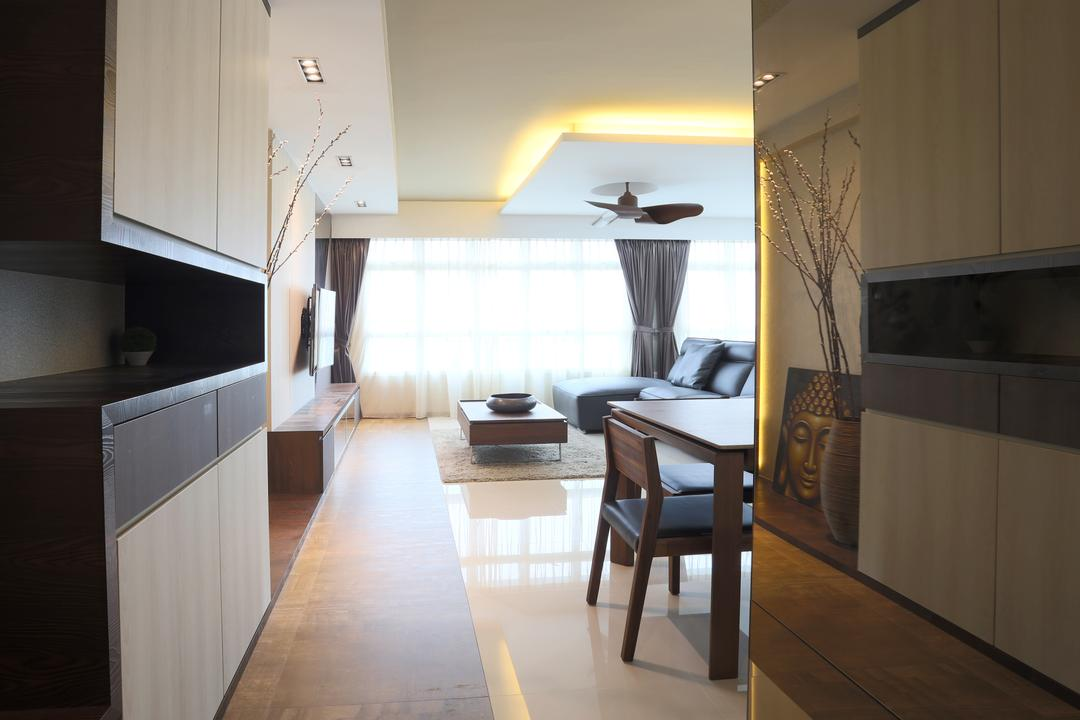 Yishun (Block 315), Voila, Traditional, Living Room, HDB, Concealed Lighting, Laminated Cabinet, Potted Plant, Decor, Buddha Portrait, Recessed Lighting, False Ceiling, Chair, Furniture, Building, Housing, Indoors