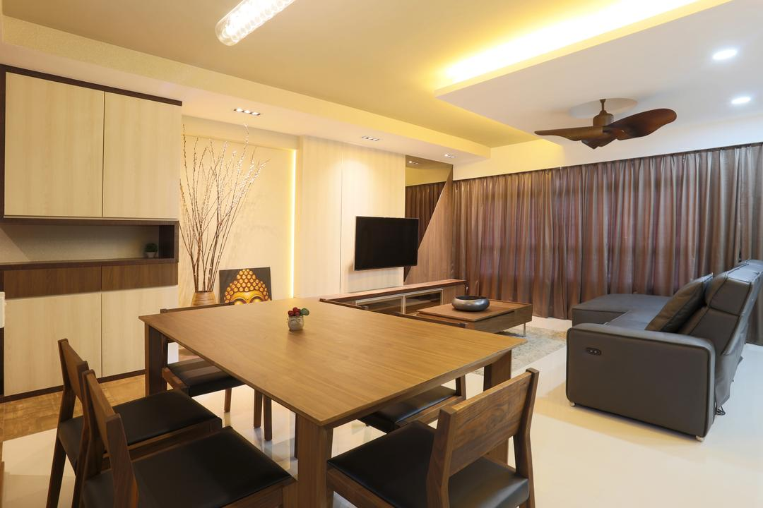 Yishun (Block 315), Voila, Traditional, Dining Room, HDB, Concealed Lighting, Conceal Lights, Wooden Table, Wooden Chairs, Dining Table, Dining Chairs, Wooden Laminte, Cabinet, Shelf, Curtains, False Ceiling, Recessed Lighting, Chair, Furniture, Table, Indoors, Room, Conference Room, Meeting Room