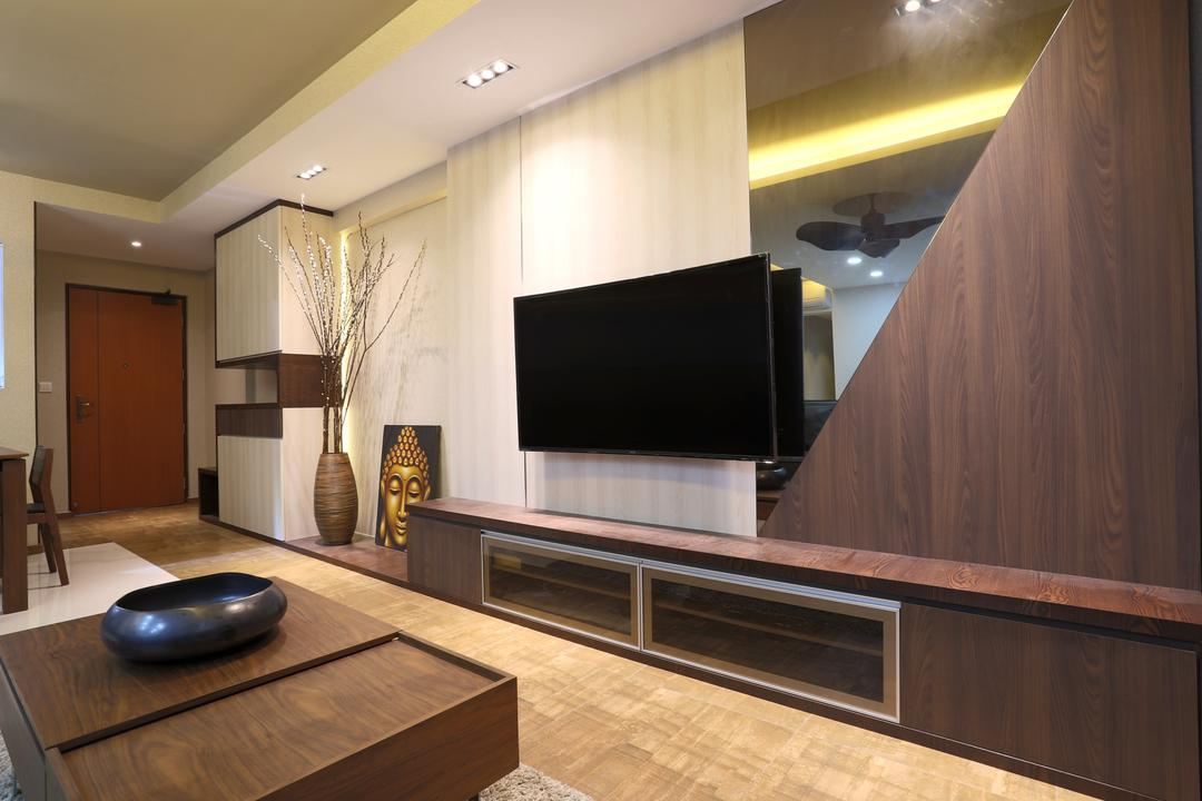Yishun (Block 315), Voila, Traditional, Living Room, HDB, Wooden Flooring, Brown Floor, Laminated Floor, Flatscreen Tv, Wall Mount Tv, Wall Tv, Tv Console, Tv Shelf, Mirror, Potted Plant, Decor, Recessed Lights, False Ceiling, Coffee Table, Wooden Table, Black Bowl, Feature Wall, Indoors, Room
