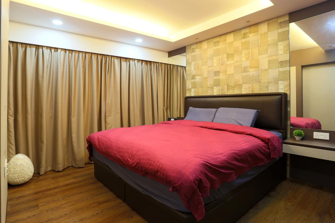 Yishun (Block 315), Voila, Traditional, Bedroom, HDB, Concealed Lighting, Conceal Lights, False Ceiling, Recessed Lighting, Cushioned Headboard, Mirror, Full Length, Wooden Floor, Brown Floor, Laminated Floor, Curtains, Bed, Furniture, Couch, Indoors, Interior Design, Room