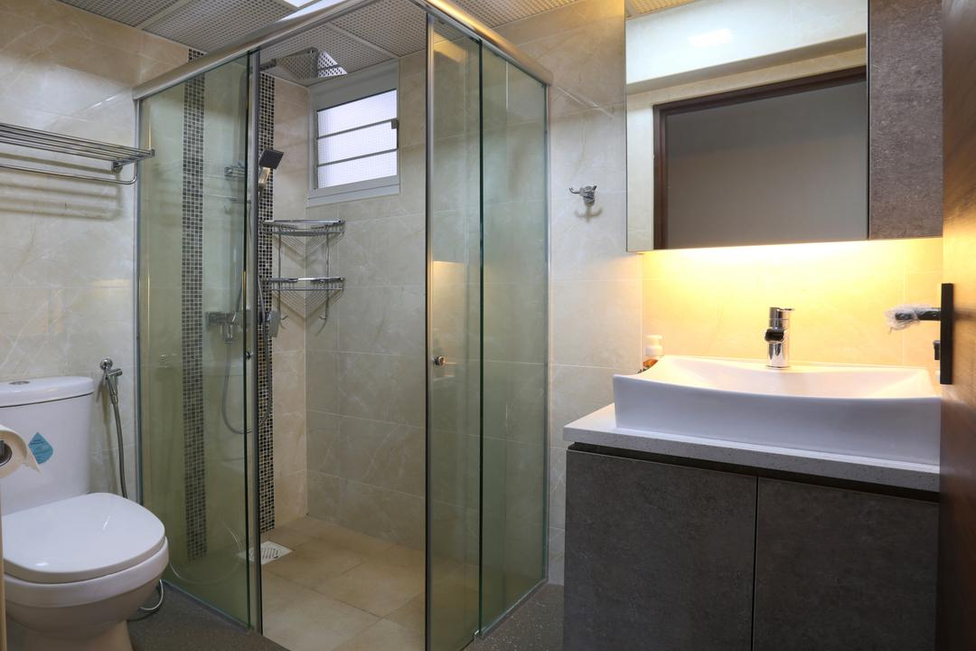 Yishun (Block 315), Voila, Traditional, Bathroom, HDB, Concealed Lighting, Conceal Lights, White Basin, Wooden Laminate, Laminated Cabinet, Glass Shower Doors, Shower Doors, Indoors, Interior Design, Room, Sink