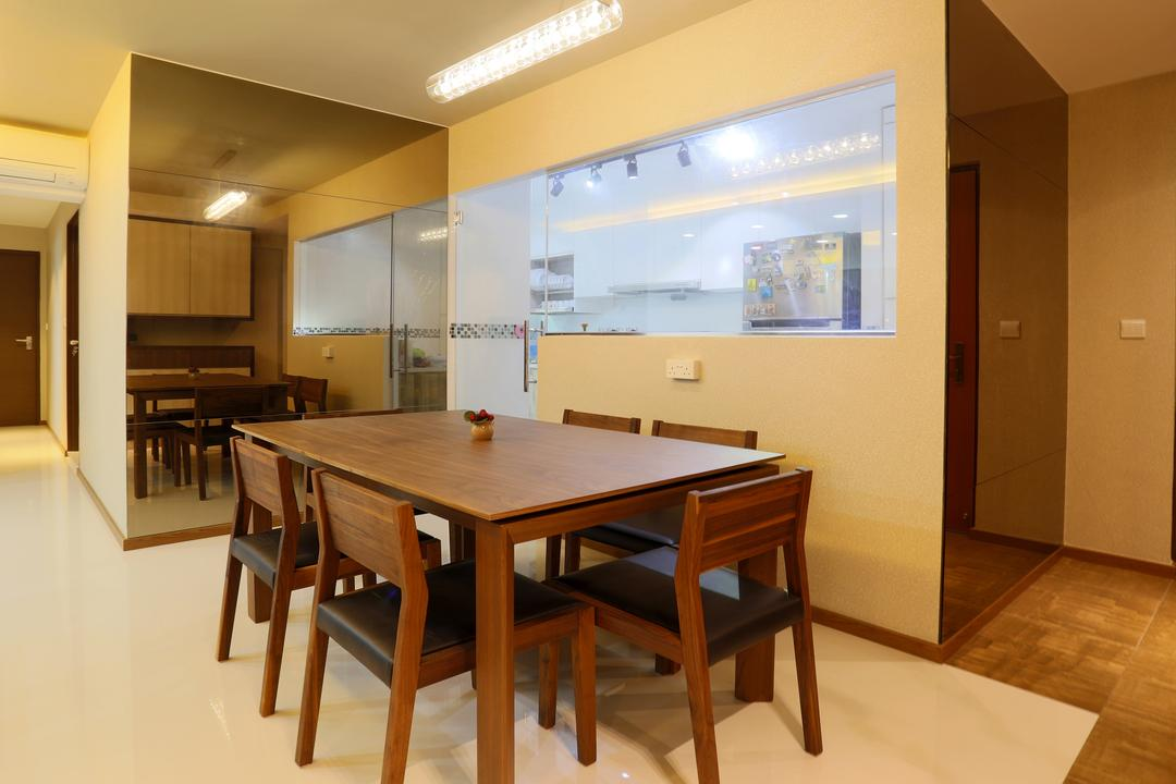 Yishun (Block 315), Voila, Traditional, Dining Room, HDB, Ceiling Lighting, Wooden Floor, Laminated Floor, Kitchen Window, Glass Window, Mirror, Full Length, Wooden Table, Wooden Chairs, Dining Table, Dining Chairs, Furniture, Table, Chair, Classroom, Indoors, Room, Conference Room, Meeting Room, Interior Design, Building, Housing, Loft