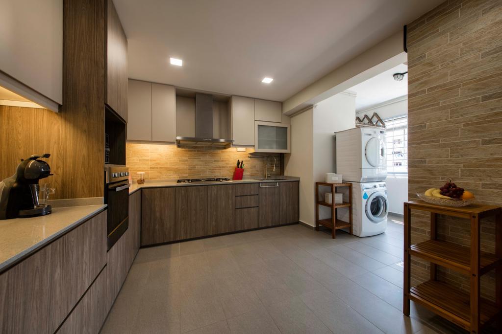 Modern, HDB, Kitchen, Bishan Street 23, Interior Designer, Voila, Flooring