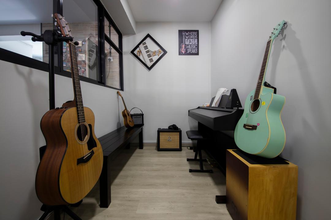 Bishan Street 23, Voila, Modern, Study, HDB, Wooden Floor, Modern Contemporary Study Room, Wooden Shelves, Guitar, Leisure Activities, Music, Musical Instrument