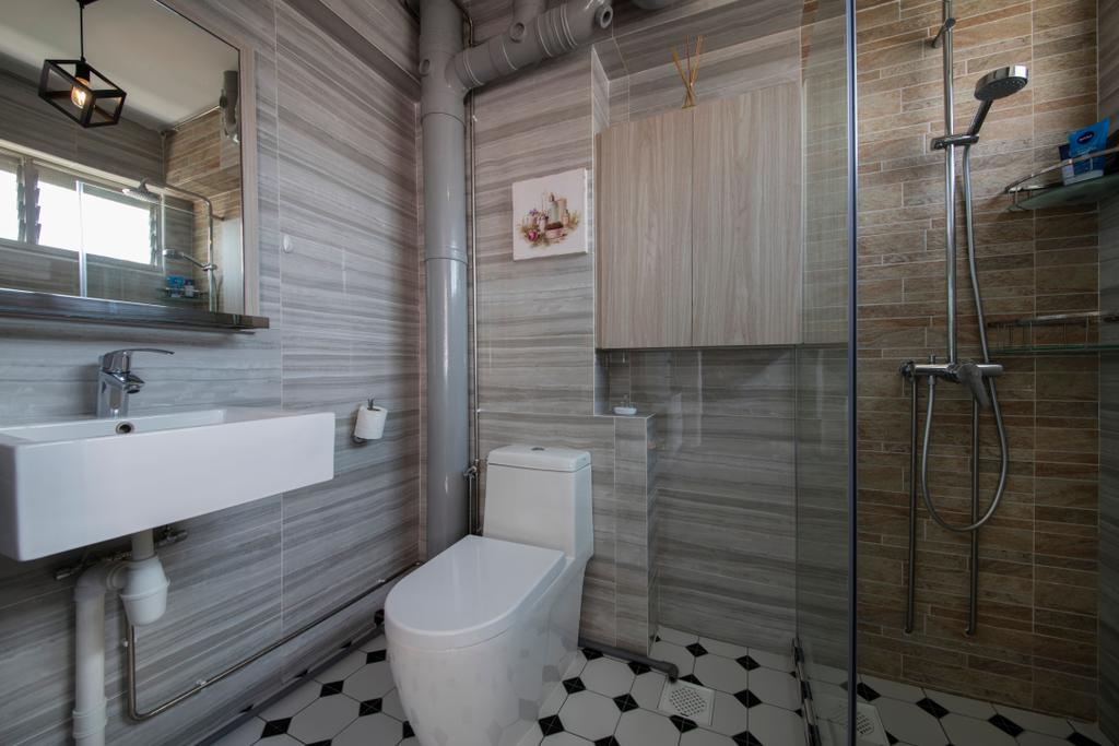 Modern, HDB, Bathroom, Bishan Street 23, Interior Designer, Voila, Modern Contemporary Bathroom, Wooden Wall, Glass Panelled Shower, Wall Mounted Sink, Indoors, Interior Design, Room