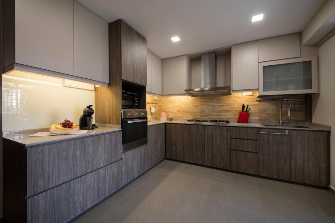 Bishan Street 23, Voila, Modern, Kitchen, HDB, Modern Contemporary Kitchen, Wooden Floor, Wooden Kitchen Cabinet, Wooden Kitchen Cupboard, Recessed Lights, White Laminated Top, Hidden Interior Lighting, Indoors, Interior Design, Room
