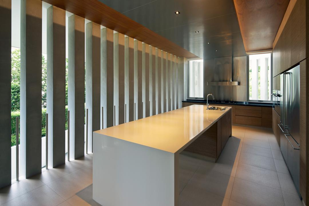 Cove Drive 2, Greg Shand Architects, Modern, Kitchen, Landed, Beams, Wooden Ceiling, White Kitchen Counter, Furniture, Reception, Reception Desk, Table, Dining Table, Flooring, HDB, Building, Housing, Indoors, Loft, Interior Design, Desk