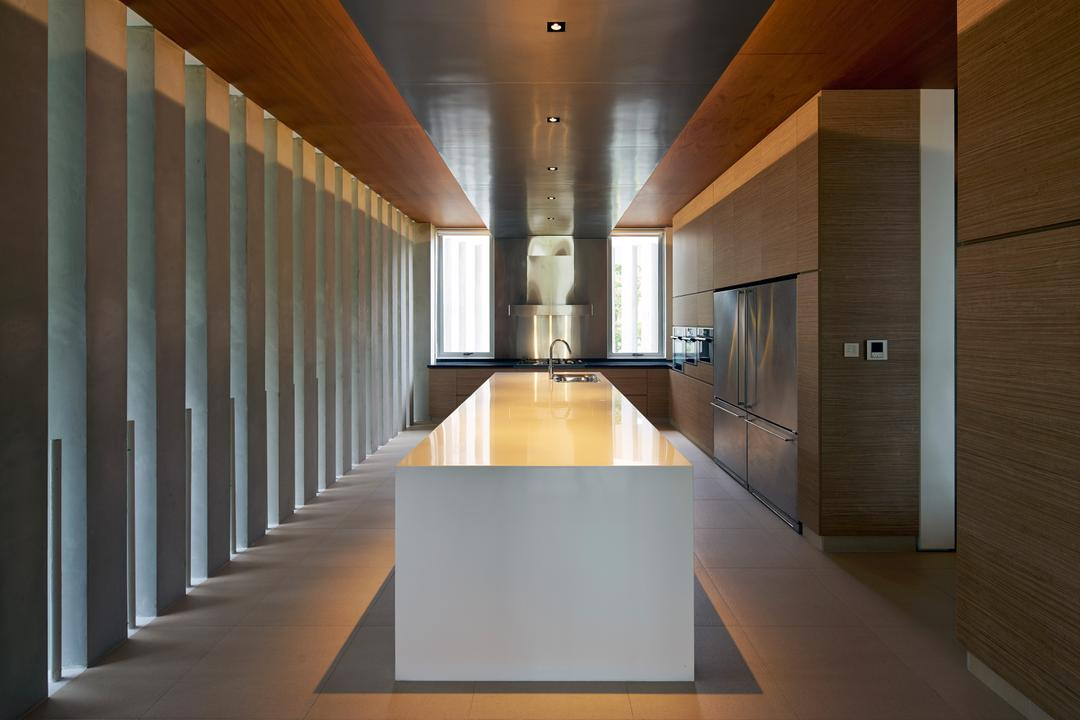 Cove Drive 2, Greg Shand Architects, Modern, Kitchen, Landed, Ceiling Lights, White Kitchen Counter, Corridor