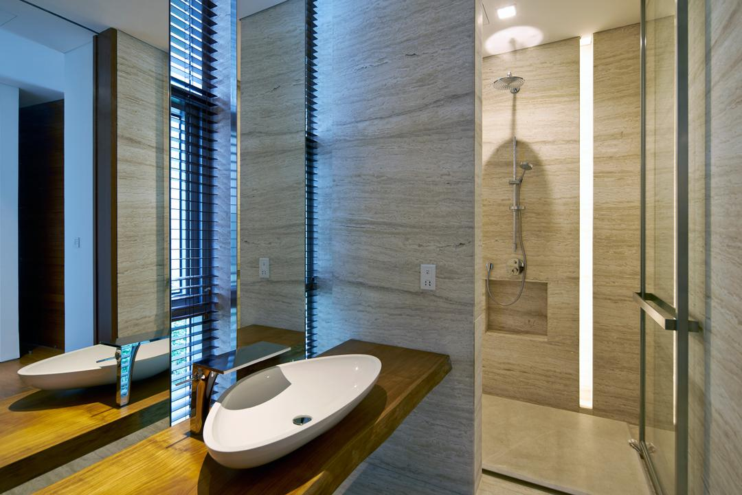 Cove Drive 2, Greg Shand Architects, Modern, Bathroom, Landed, White Basin, Wooden Sink, Glass Doors, Mirror