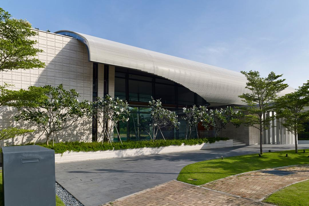 Cove Drive 2, Greg Shand Architects, Modern, Landed, Exterior View, Modern Look, Two Storey, Planted Trees, Flora, Jar, Plant, Potted Plant, Pottery, Vase, Mailbox, Building, Office Building