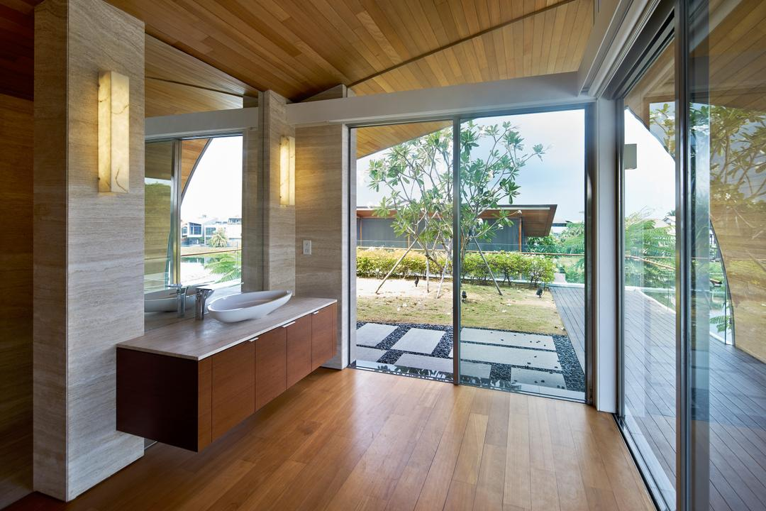 Cove Drive 2, Greg Shand Architects, Modern, Bathroom, Landed, Wooden Flooring, Laminated Flooring, Wooden Ceiling, Glass Doors, Wall Mount Shelf, White Basin, Mirror, Wall Lamp, Wooden Laminated Cabinet, Hardwood, Wood