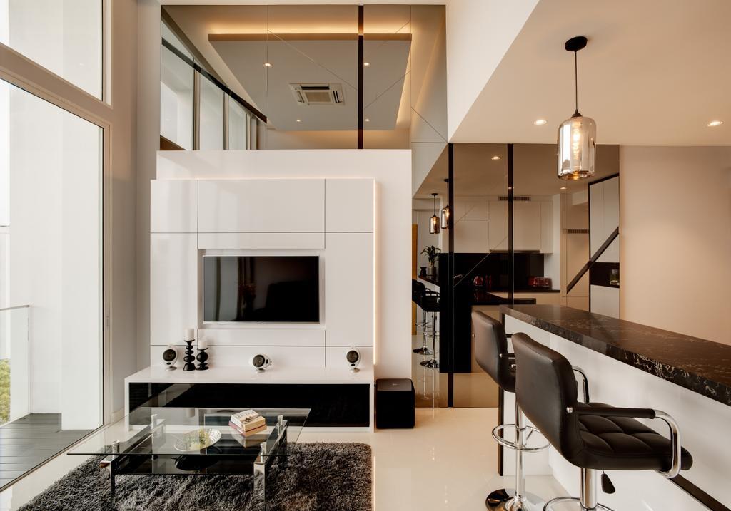Modern, Condo, Living Room, Parc Emily, Interior Designer, The Orange Cube, Contemporary, Chair, Furniture, Fireplace, Hearth