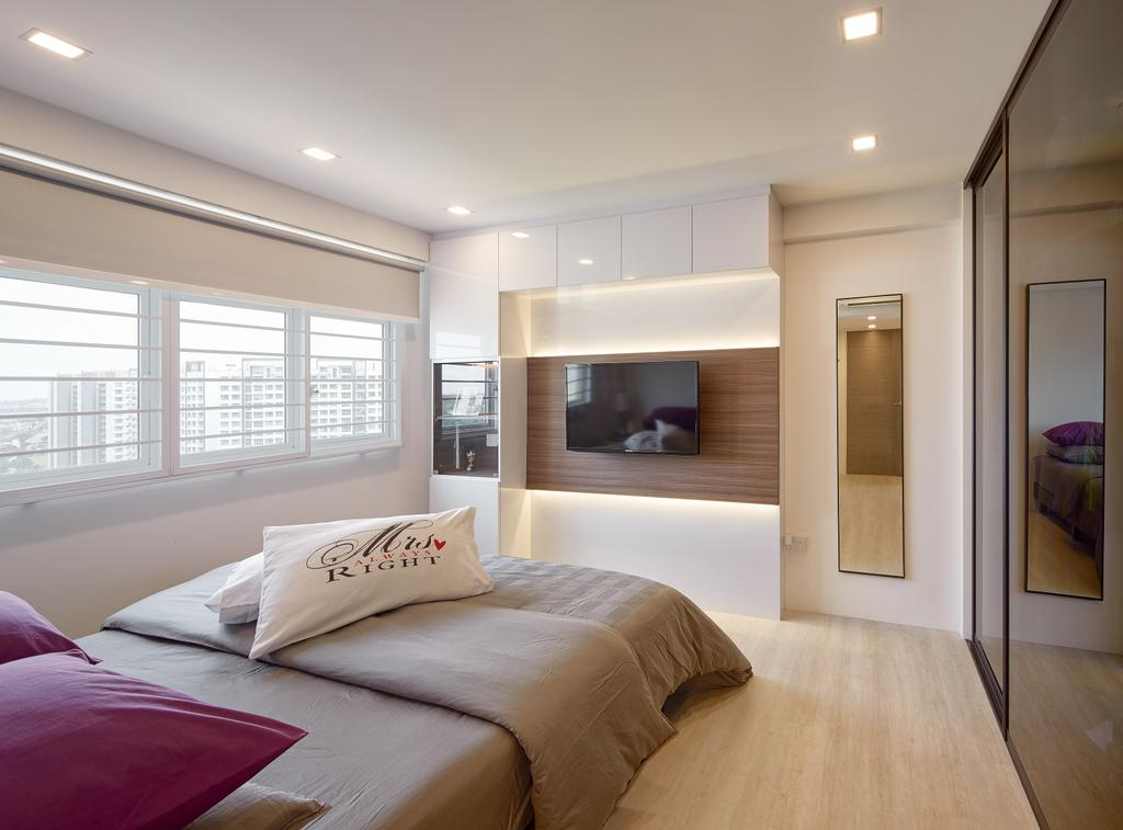 Contemporary, HDB, Bedroom, Matilda Portico, Interior Designer, Absolook Interior Design, King Size Bed, Recessed Lights, Wooden Floor, Hidden Interior Lighting, Window, Bright, Cozy, Cosy, Sliding Wadrobe, Wall Mounted Televsion, Wooden Wall