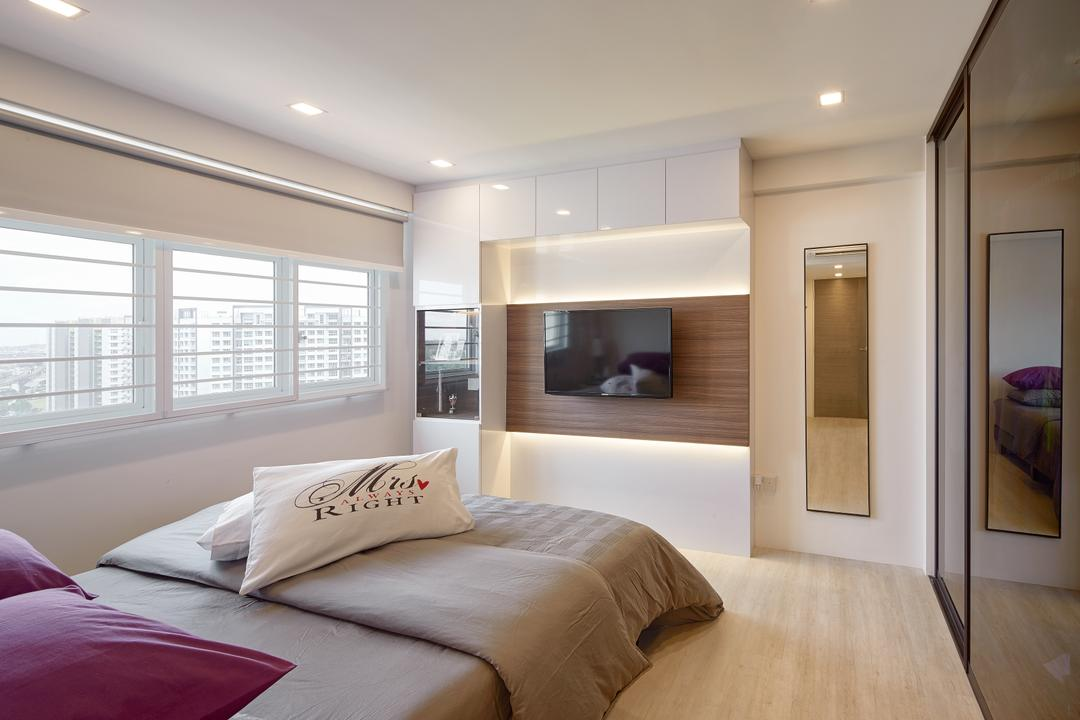 Matilda Portico, Absolook Interior Design, Contemporary, Bedroom, HDB, King Size Bed, Recessed Lights, Wooden Floor, Hidden Interior Lighting, Window, Bright, Cozy, Cosy, Sliding Wadrobe, Wall Mounted Televsion, Wooden Wall