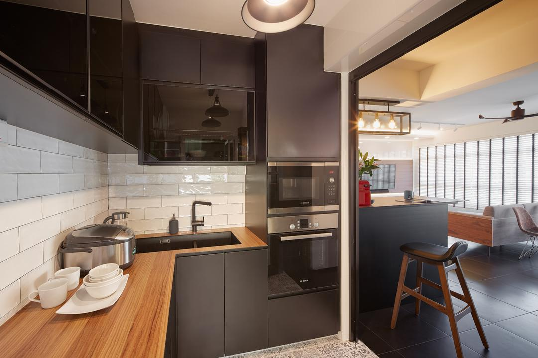 Matilda Portico, Absolook Interior Design, Contemporary, Kitchen, HDB, Black Wall Mounted Cabinets, Wooden Top, Marble Floor, Hanging Lights, Appliance, Electrical Device, Oven, Chair, Furniture, Indoors, Interior Design, Room, Bathroom, Dining Table, Table, Microwave