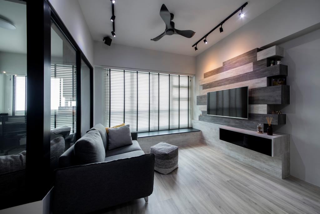 Industrial, HDB, Living Room, Jalan Tenteram (Block 116A), Interior Designer, Starry Homestead, Modern Contemporary Living Room, Wooden Floor, Wall Mounted Television, Floating Television Console, Track Lights, Ceiling Fan, Roll Down Curtain, , Shelf