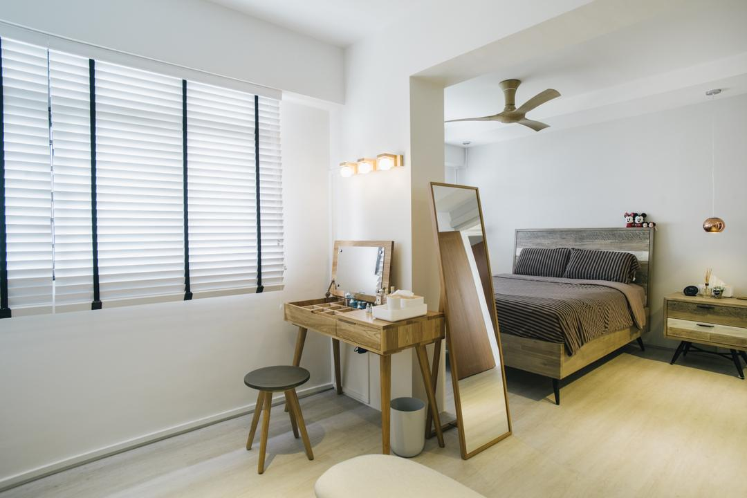 Senja Gateway (Block 635A), Starry Homestead, Contemporary, Bedroom, HDB, Wooden Floor, Roll Down Curtain, Ceiling Fan, King Size Bed, Modern Contemporary Bedroom, Cozy, Cosy, Wooden Table, Wooden Stool, Bar Stool, Furniture, Indoors, Interior Design, Room