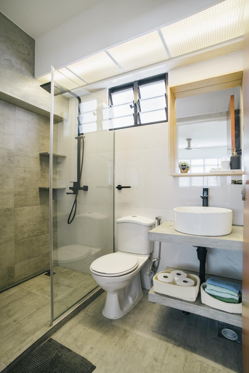 Contemporary, HDB, Bathroom, Senja Gateway (Block 635A), Interior Designer, Starry Homestead, Ceramic Floor, Glass Panelled Shower, Protruding Sink, Modern Contemporary Bathroom, Toilet, Indoors, Interior Design, Room