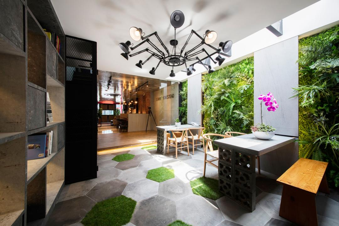 Starry Homestead Balestier Showroom, Starry Homestead, Modern, Garden, Commercial, Hanging Lights, Wooden Bench, White Laminated Tabletop, Wooden Table, Honeycomb Patterned Wall, Flora, Jar, Plant, Potted Plant, Pottery, Vase, Chandelier, Lamp, Patio, Hemp