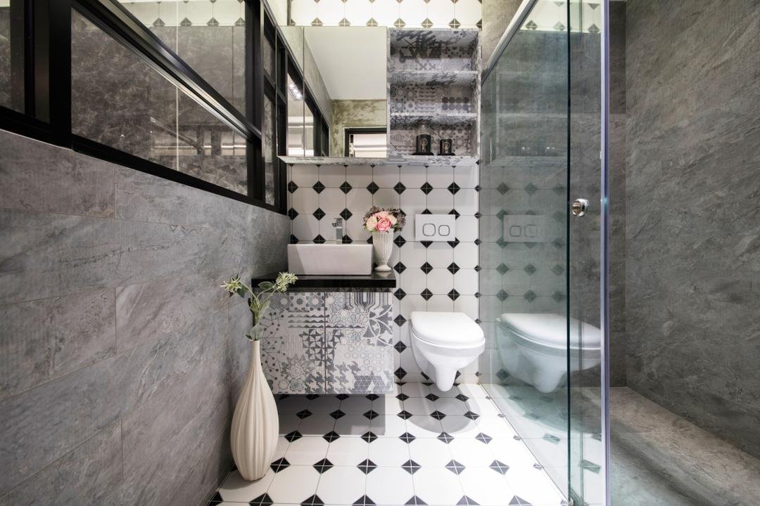 Starry Homestead Balestier Showroom, Starry Homestead, Modern, Bathroom, Commercial, Glass Panelled Shower, Protruding Sink, Modern Contemporary Bathroom, Ceramic Floor, Hidden Interior Lighting, Indoors, Interior Design, Room