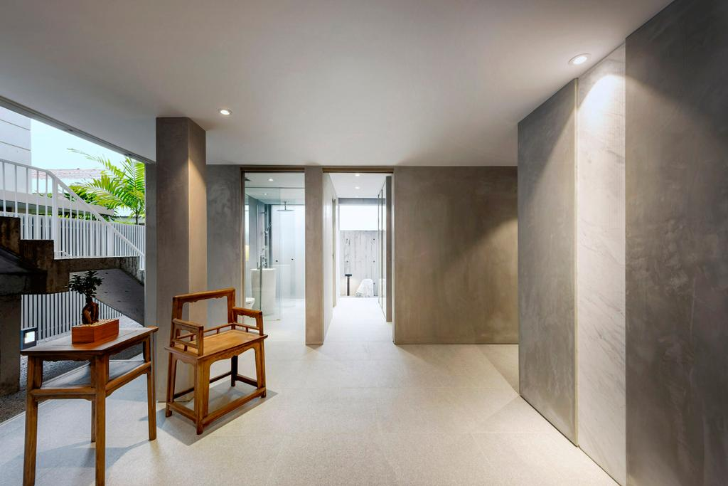 Modern, Landed, Garden, Ply House, Architect, UPSTAIRS_, Chair, Furniture, Bench