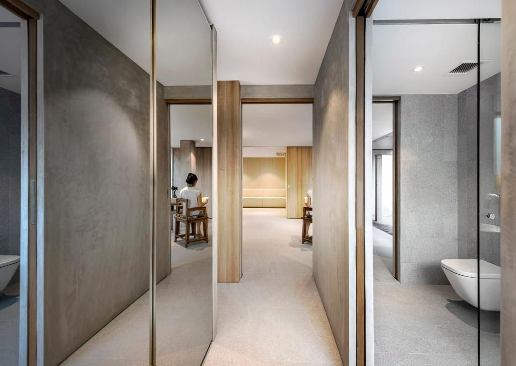 Modern, Landed, Ply House, Architect, UPSTAIRS_, Closet, Furniture, Wardrobe, Corridor, Door, Sliding Door
