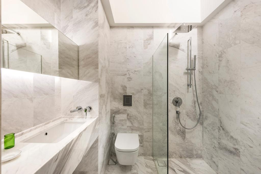 Modern, Landed, Bathroom, Ply House, Architect, UPSTAIRS_, Modern Contemporary Bathroom, Marble Floor, Marble Wall, Glass Panelled Shower, White Sink Countertop, Hidden Interior Lighting, Indoors, Interior Design, Room