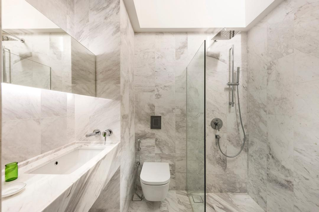 Ply House, UPSTAIRS_, Modern, Bathroom, Landed, Modern Contemporary Bathroom, Marble Floor, Marble Wall, Glass Panelled Shower, White Sink Countertop, Hidden Interior Lighting, Indoors, Interior Design, Room