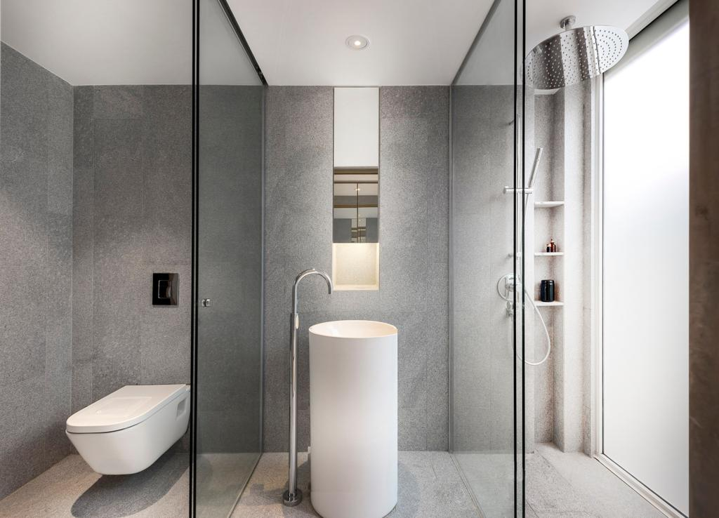 Modern, Landed, Bathroom, Ply House, Architect, UPSTAIRS_, Toilet, Sink, Indoors, Interior Design, Room