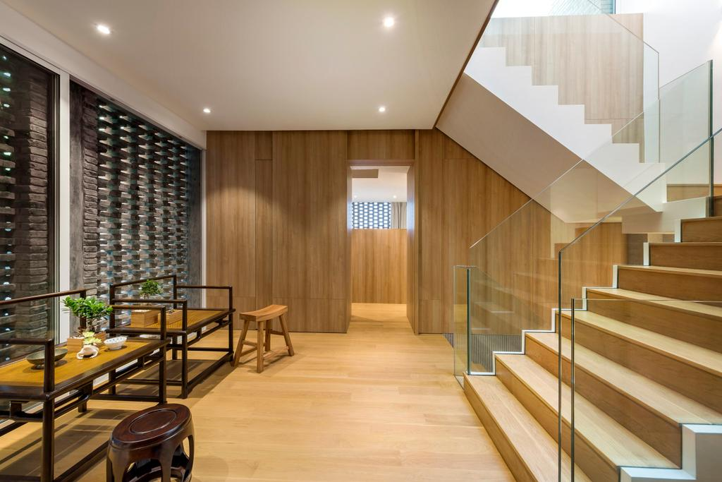 Modern, Landed, Dining Room, Ply House, Architect, UPSTAIRS_, Hardwood, Wood, Dining Table, Furniture, Table, Chair, Indoors, Interior Design
