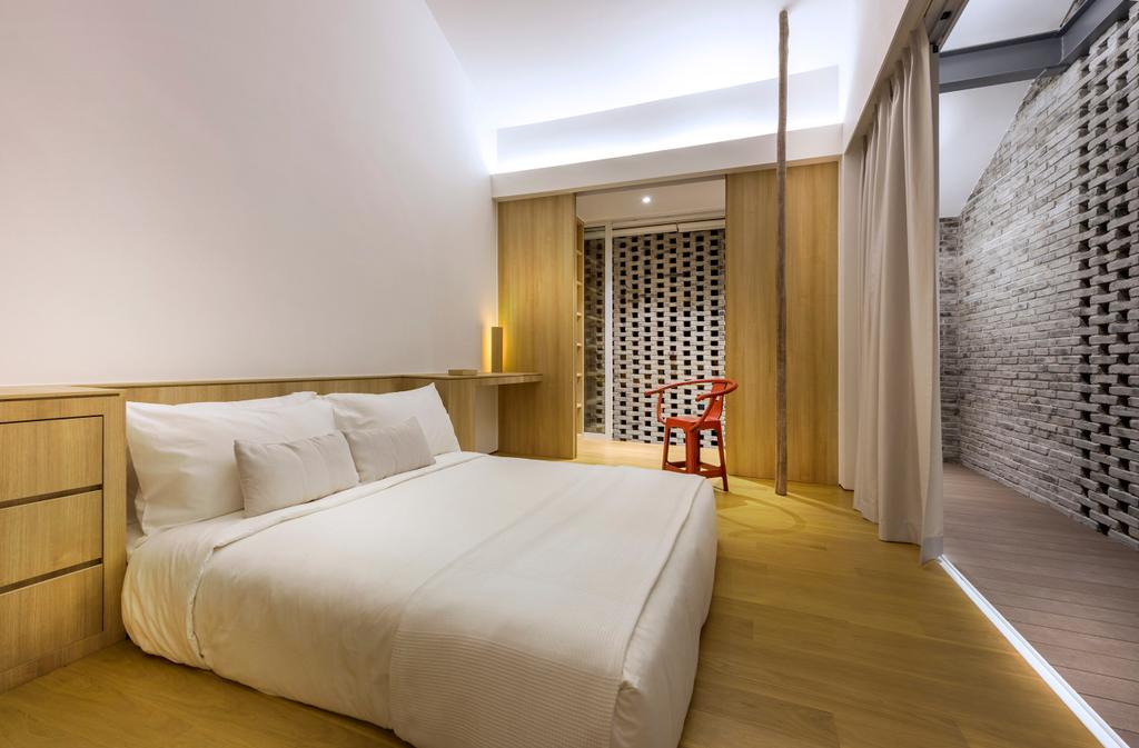 Modern, Landed, Bedroom, Ply House, Architect, UPSTAIRS_, Modern Contemporary Bedroom, Wooden Floor, Hidden Interior Lighting, King Size Bed, Cozy, Cosy, Sling Curtain, Coffered Ceiling, Wooden Panel, Bed, Furniture, Indoors, Interior Design, Room