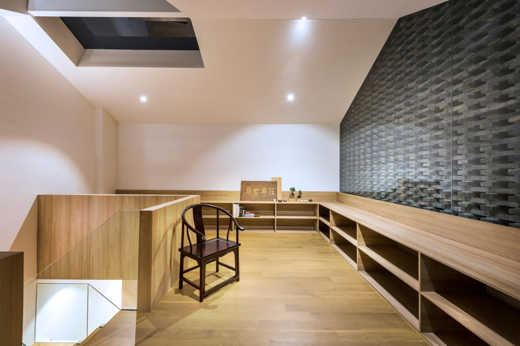 Modern, Landed, Dining Room, Ply House, Architect, UPSTAIRS_, Modern Contemporary Dining Room, Wooden Floor, Recessed Lights, Wooden Shelves, Chair, Furniture