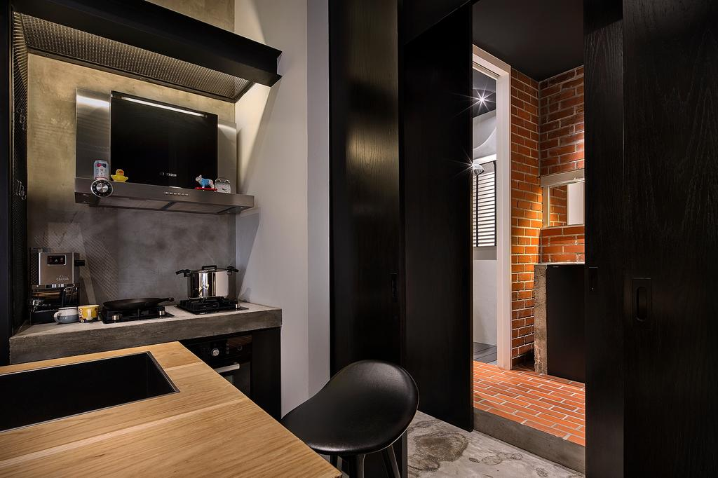 Industrial, Condo, Dining Room, The Overlap Apartment, Architect, UPSTAIRS_, Chair, Furniture, Brick, Indoors, Interior Design, Appliance, Electrical Device, Oven