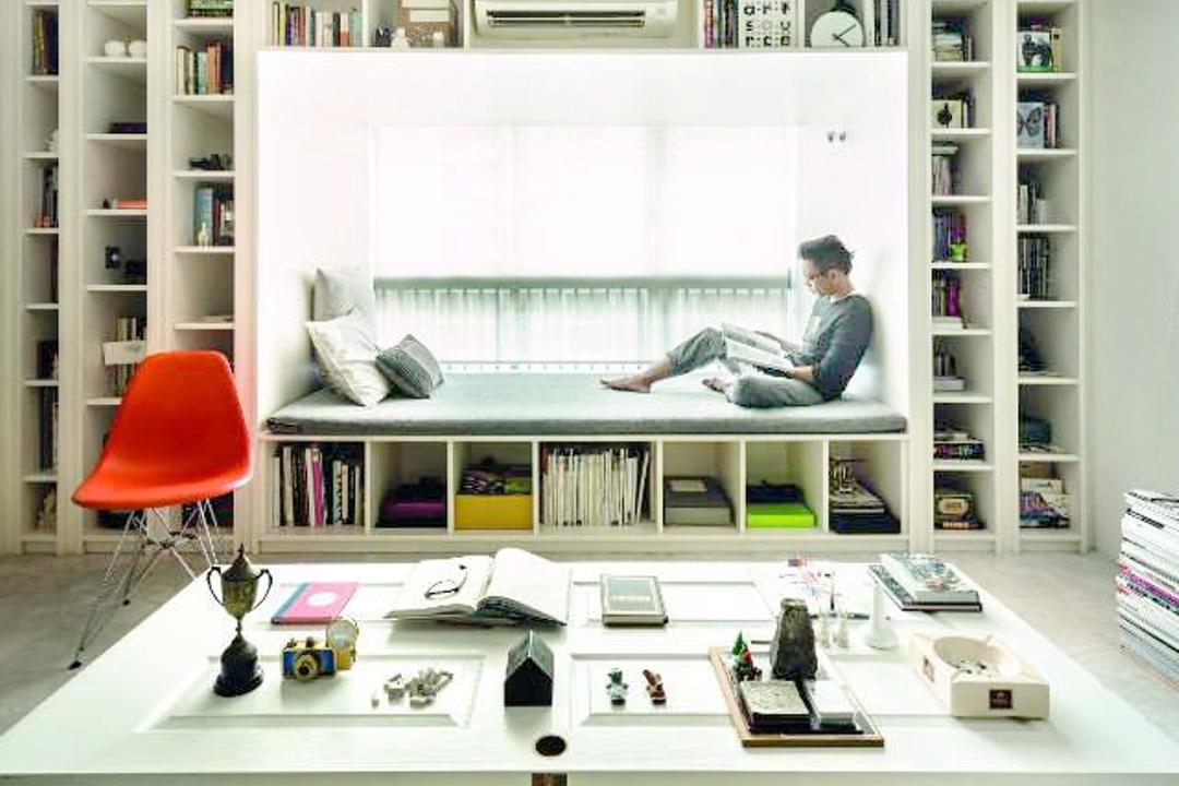 The Gallery Apartment, UPSTAIRS_, Scandinavian, Living Room, Condo, Modern Contemporary Living Room, Marble Floor, Built In Shelves, White Laminated Table Top, Track Lights, Human, People, Person, Chair, Furniture, Bottle, Sitting