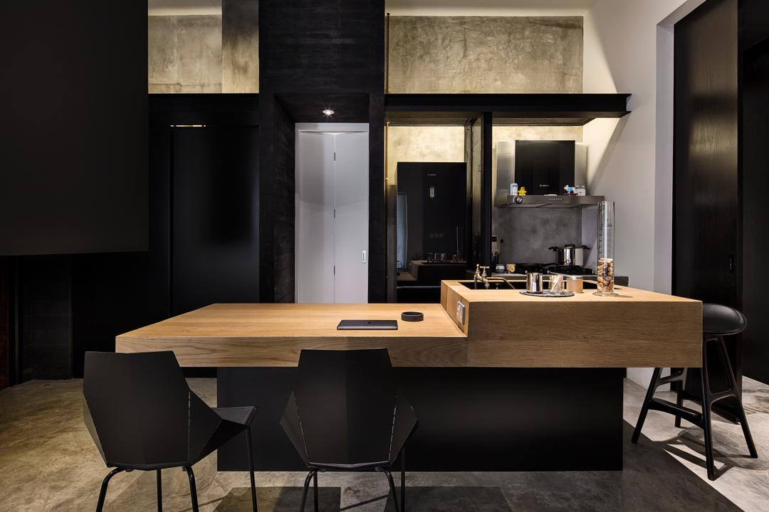 The Overlap Apartment, UPSTAIRS_, Industrial, Dining Room, Condo, Modern Contemporary Dining Room, Wooden Dining Table, Black Dining Chair, Marble Floor, Dining Table, Furniture, Table, Chair, Indoors, Interior Design, Room, Desk