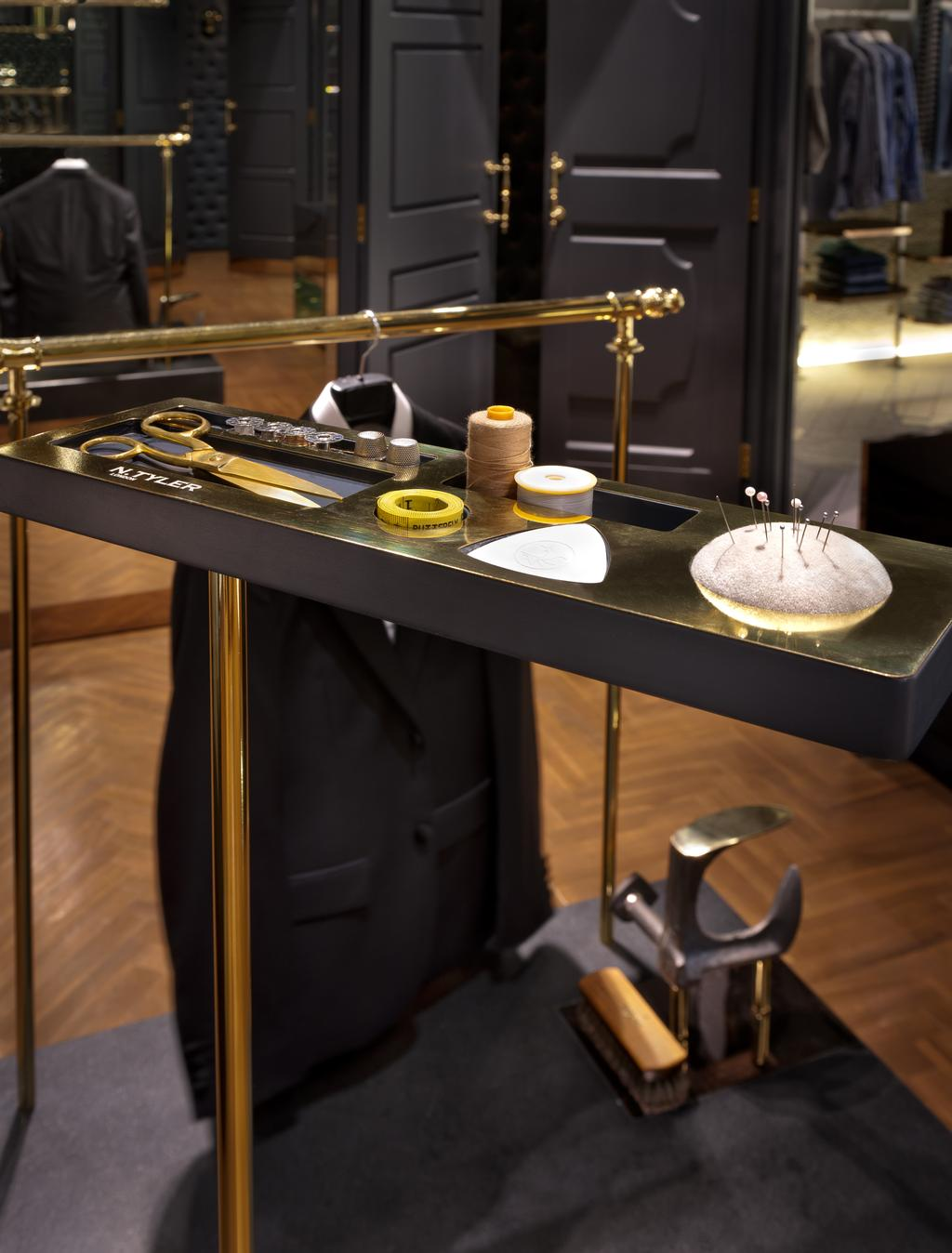 N.Tyler Flagship Boutique, Commercial, Architect, UPSTAIRS_, Modern, Industrial, Dining Table, Furniture, Table, Brass Section, Cornet, Horn, Leisure Activities, Music, Musical Instrument, Trumpet, Coffee Table, Appliance, Electrical Device, Oven