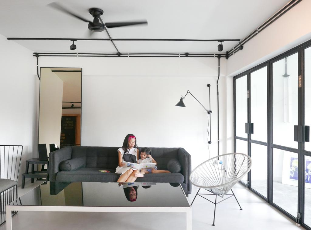 Scandinavian, Condo, Living Room, The Crate Apartment, Architect, UPSTAIRS_, Human, People, Person, Couch, Furniture