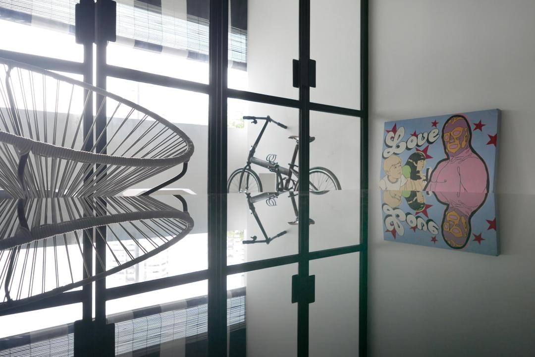 The Crate Apartment, UPSTAIRS_, Scandinavian, Living Room, Condo, Bicycle, Bike, Transportation, Vehicle, Art, Drawing
