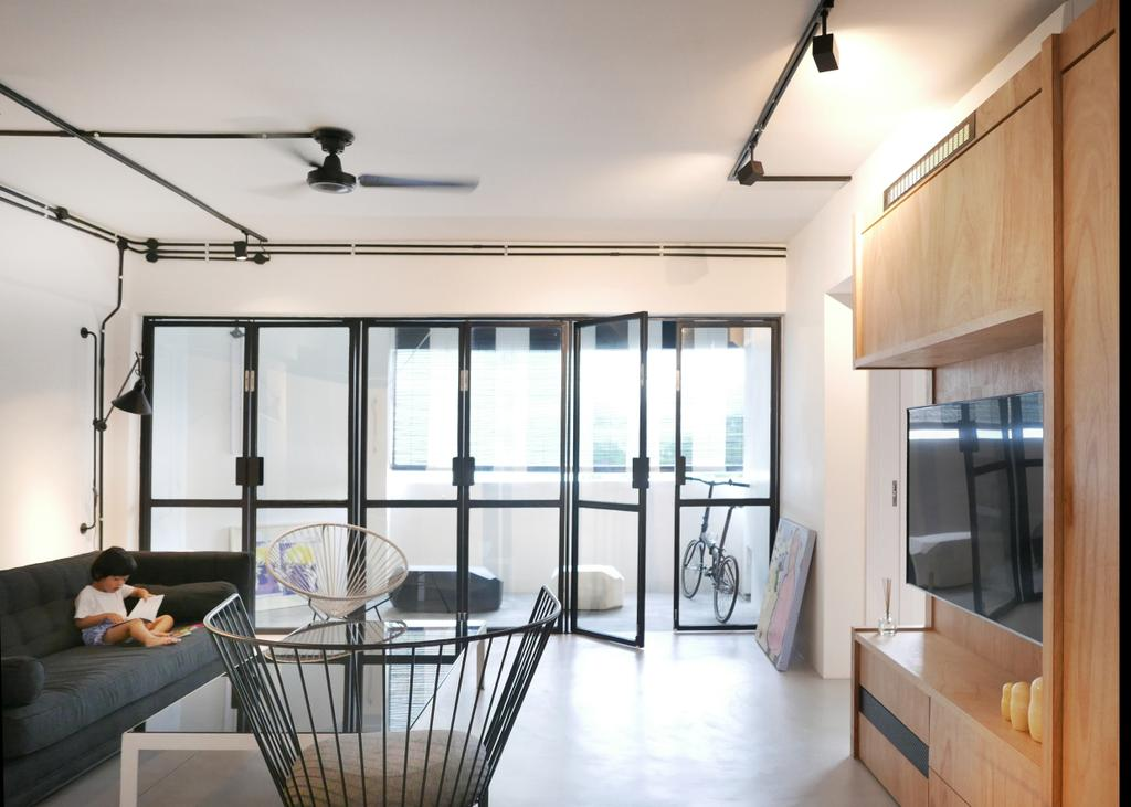 Scandinavian, Condo, Living Room, The Crate Apartment, Architect, UPSTAIRS_, Modern Contemporary Living Room, Wall Mounted Television, Television Console, Track Lights, Ceiling Fan, Glass Panelled Door, Banister, Handrail, Couch, Furniture