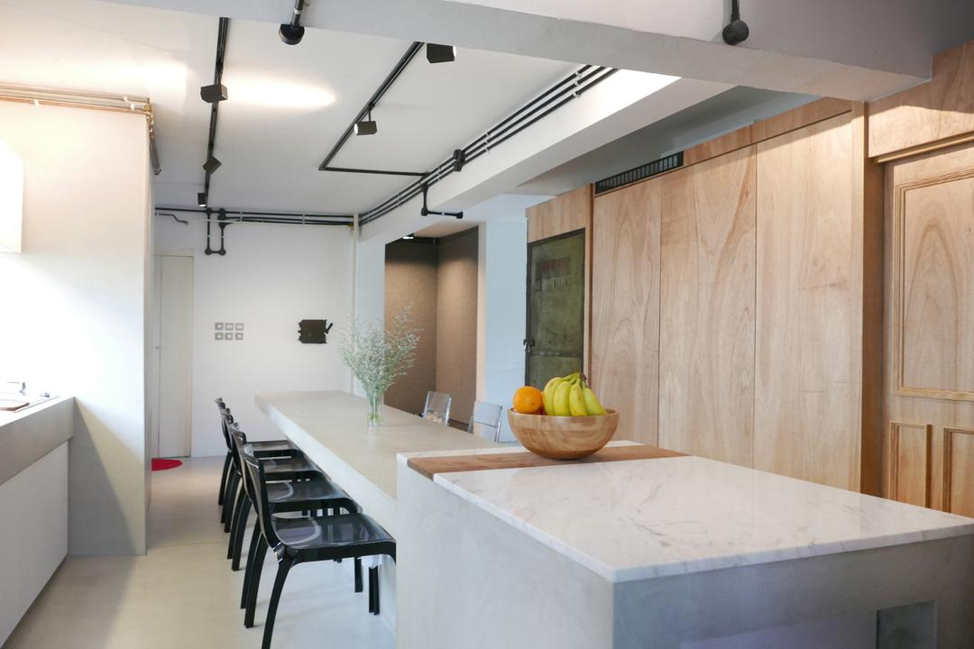 The Crate Apartment, UPSTAIRS_, Scandinavian, Dining Room, Condo, White Dining Counter, White Marble Laminated Top, Wooden Floor, Black Chair, Dining Table, Furniture, Table, Indoors, Interior Design, Room