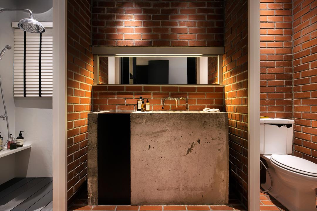 The Overlap Apartment, UPSTAIRS_, Industrial, Bathroom, Condo, Modern Contemporary Bathroom, Brick Walls, Brick Floor, Sink Countertop, Hidden Interior Lighting, Fireplace, Hearth, Brick