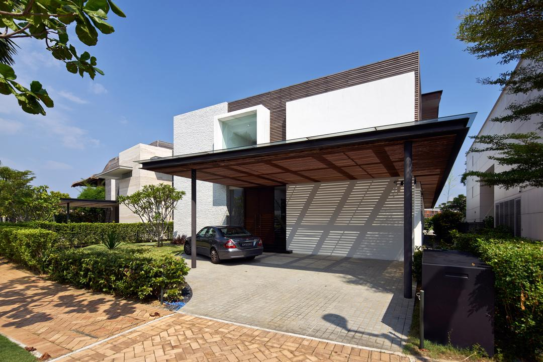 Cove Drive 3, Greg Shand Architects, Modern, Landed, Exterior View, Plants, Shelter, Glass Window, Rough Walls, Grey Wall, White Wall, Car Shelter, Flora, Jar, Plant, Potted Plant, Pottery, Vase, Fence, Hedge