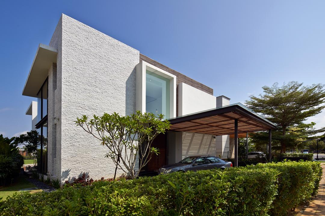 Cove Drive 3, Greg Shand Architects, Modern, Landed, Exterior View, Plants, Shelter, Glass Window, Rough Walls, Grey Wall, Fence, Flora, Hedge, Plant, Canopy, Building, Cottage, House, Housing, Jar, Potted Plant, Pottery, Vase, Villa