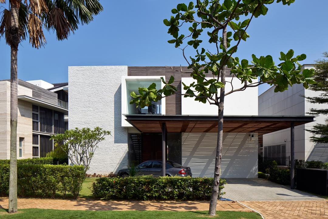 Cove Drive 3, Greg Shand Architects, Modern, Landed, Exterior View, Plants, Shelter, Glass Window, Grey Wall, White Wall, Car Shelter, Flora, Jar, Plant, Potted Plant, Pottery, Vase, Building, House, Housing, Villa, Bonsai, Tree
