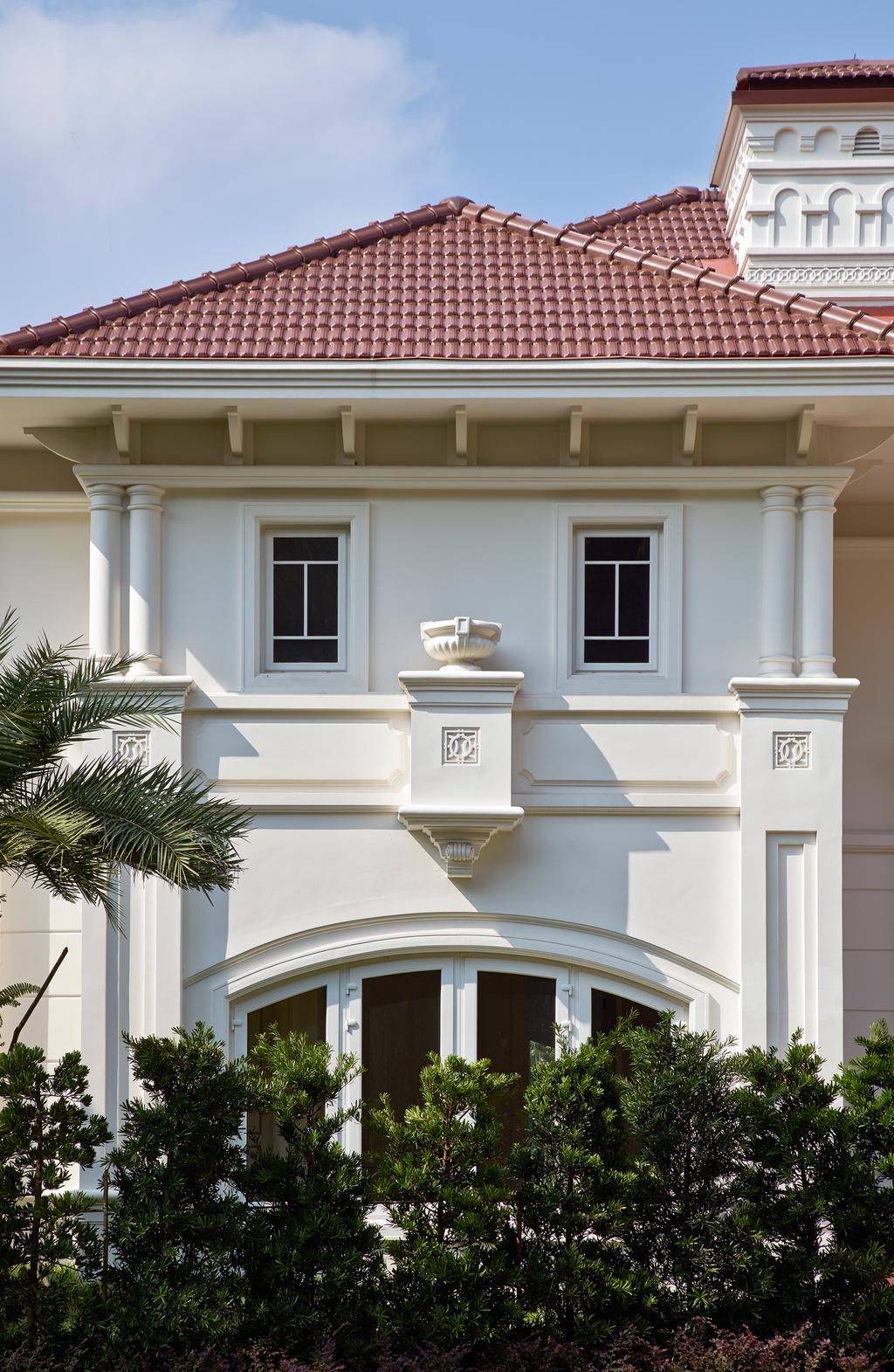 Transitional, Landed, Cove Drive 5, Architect, Greg Shand Architects, Exterior View, Plantations, Plants, Bushes, Grass Patch, Colonial Style, Flora, Jar, Plant, Potted Plant, Pottery, Vase, Arecaceae, Palm Tree, Tree, Window, Building, House, Housing, Villa, Molding