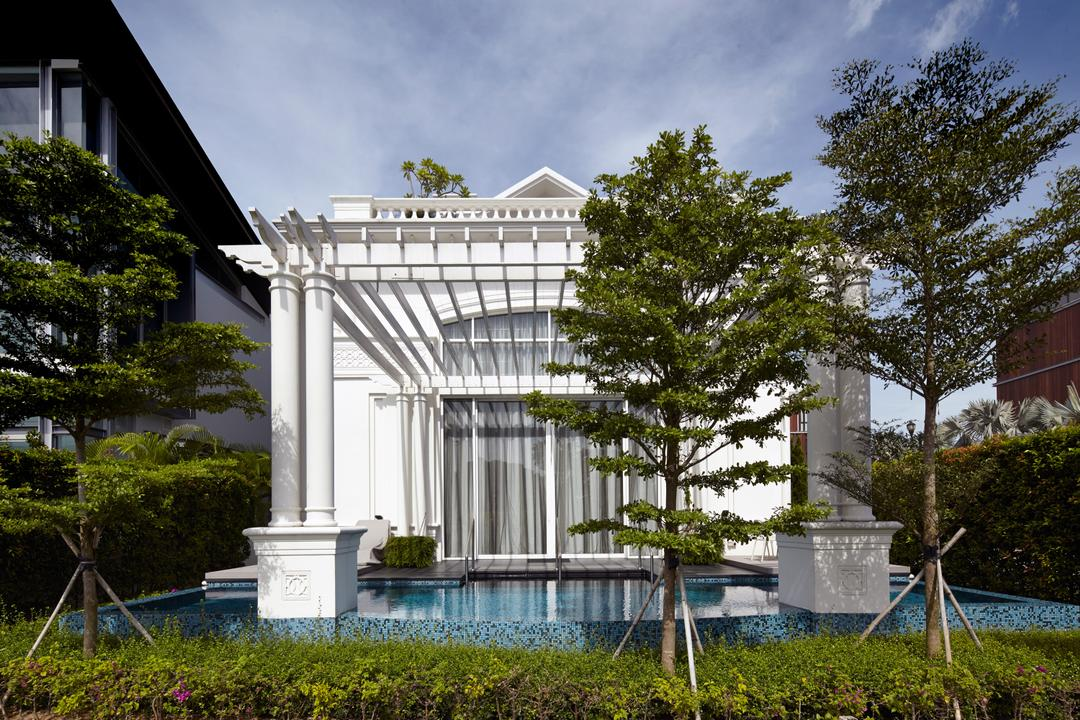 Cove Drive 6, Greg Shand Architects, Contemporary, Landed, Plantation, Bushes, Indoor Pool, Private Pool, Colonial Style, House, Exterior View, Flora, Jar, Plant, Potted Plant, Pottery, Vase, Conifer, Tree, Yew