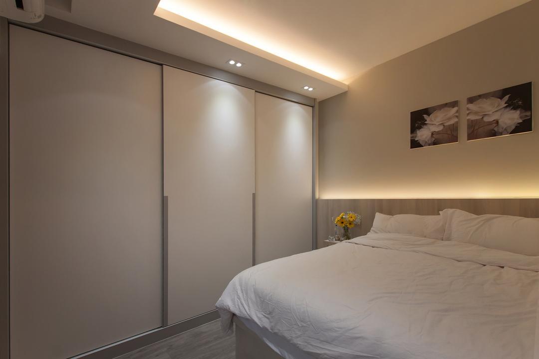 La Fiesta, Space Atelier, Modern, Bedroom, Condo, Hidden Interior Lighting, Recessed Lights, Cozy, Dim Lights, Neutral Colours, Sliding Wardrobe, Bed, Furniture, Indoors, Interior Design, Room