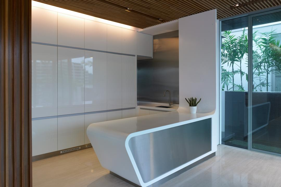 Cove Way 2, Greg Shand Architects, Modern, Kitchen, Landed, White Cabinets, Cabinets, White Kitchen Counter, Kitchen Counter, Concealed Lights, Wooden Ceiling, Wooden Wall, Flora, Jar, Plant, Potted Plant, Pottery, Vase, Indoors, Interior Design